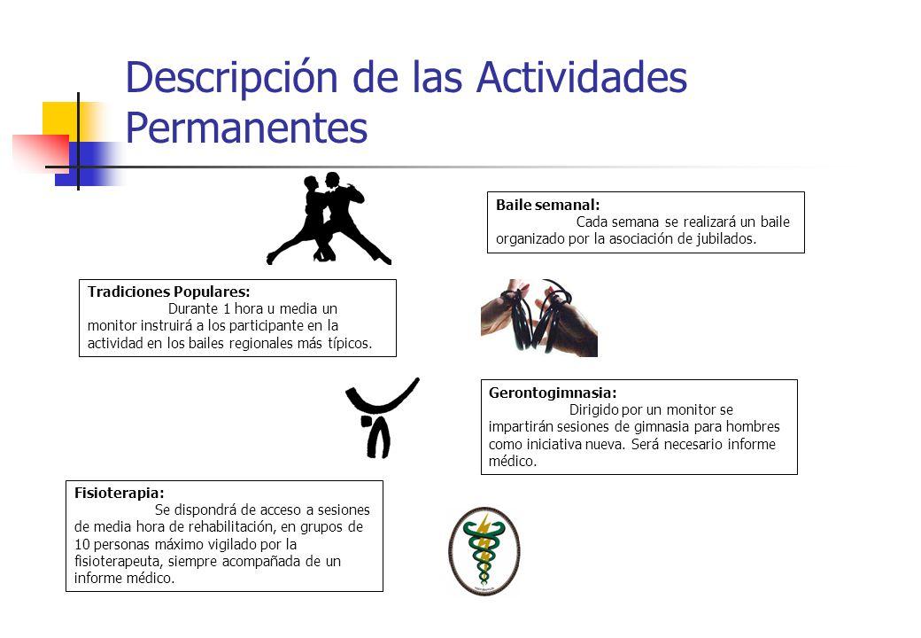 Descripción de las Actividades Permanentes Tradiciones Populares: Durante 1 hora u media un monitor instruirá a los participante en la actividad en lo