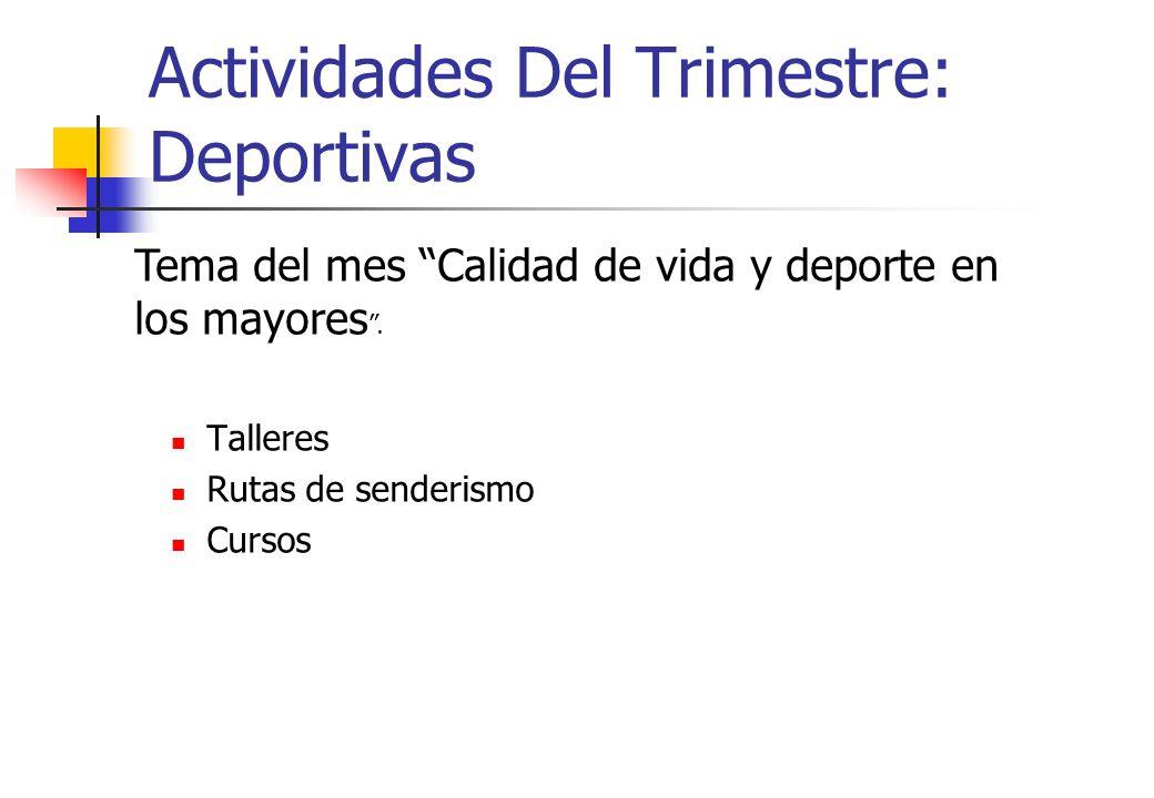 Actividades Del Trimestre: Deportivas Talleres Rutas de senderismo Cursos Tema del mes Calidad de vida y deporte en los mayores.
