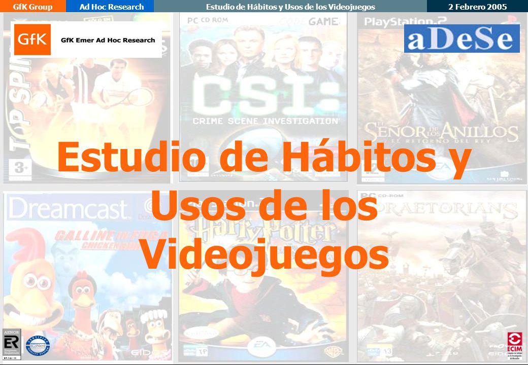 Estudio de Hábitos y Usos de los Videojuegos 2 Febrero 2005 GfK GroupAd Hoc ResearchEstudio de Hábitos y Usos de los Videojuegos ER- 0484/1/00