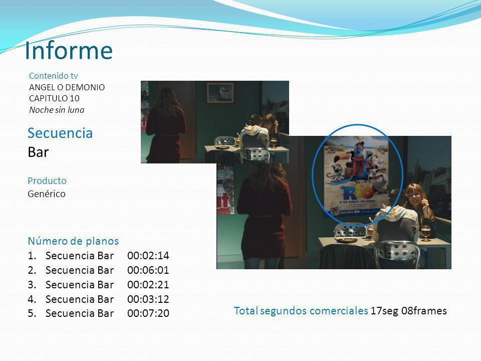 Informe Contenido tv ANGEL O DEMONIO CAPITULO 10 Noche sin luna Total segundos comerciales 17seg 08frames Número de planos 1.Secuencia Bar 00:02:14 2.