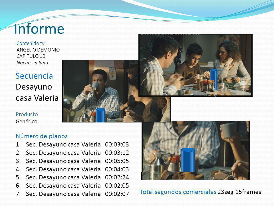 Secuencia Desayuno casa Valeria Producto Genérico Informe Contenido tv ANGEL O DEMONIO CAPITULO 10 Noche sin luna Total segundos comerciales 23seg 15f