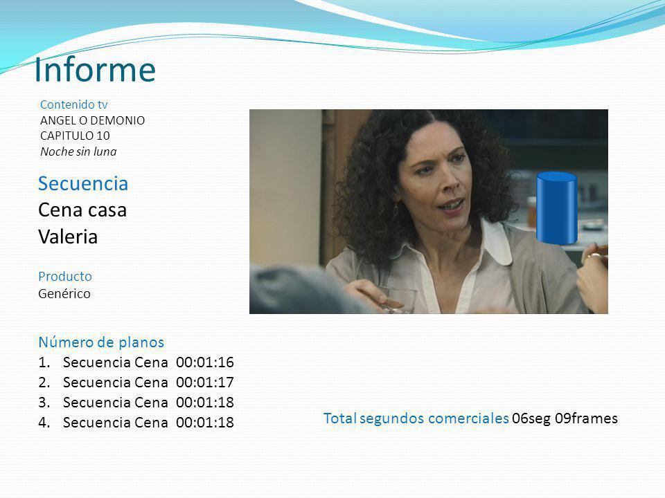 Secuencia Cena casa Valeria Producto Genérico Informe Contenido tv ANGEL O DEMONIO CAPITULO 10 Noche sin luna Total segundos comerciales 06seg 09frame