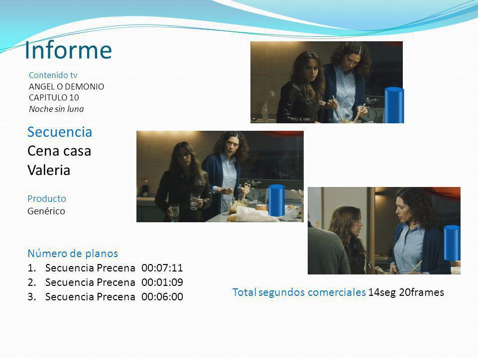 Secuencia Cena casa Valeria Producto Genérico Informe Contenido tv ANGEL O DEMONIO CAPITULO 10 Noche sin luna Total segundos comerciales 14seg 20frame