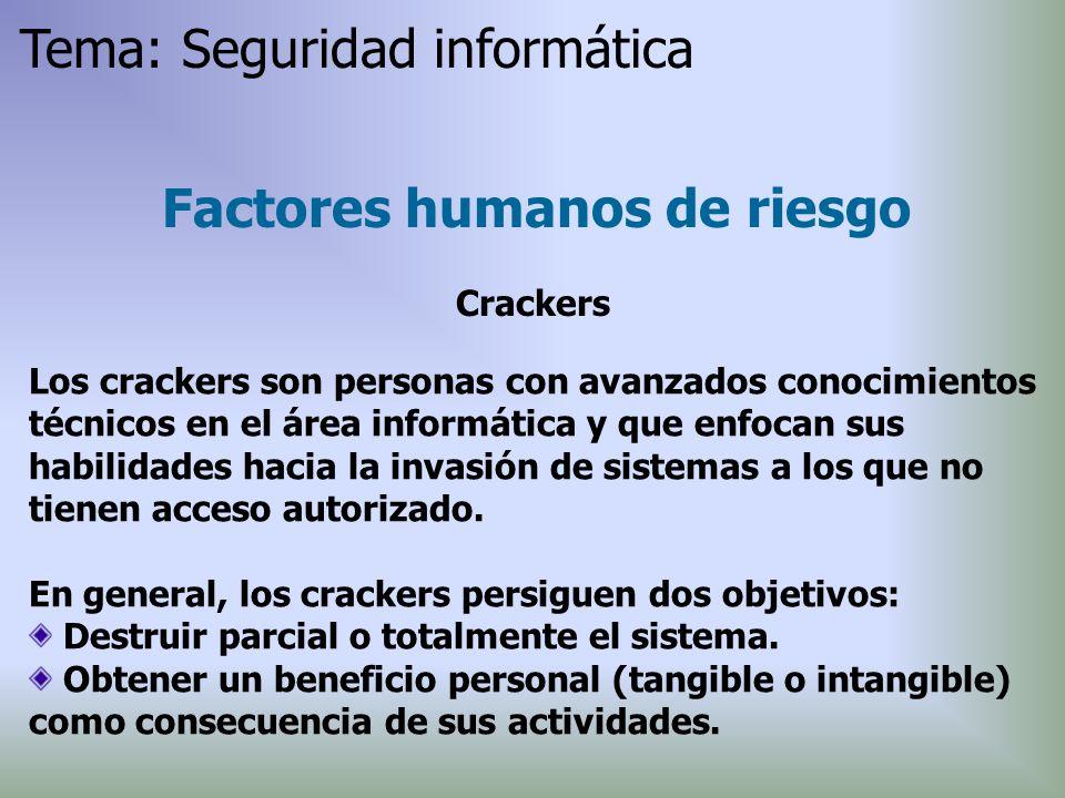 Los crackers son personas con avanzados conocimientos técnicos en el área informática y que enfocan sus habilidades hacia la invasión de sistemas a lo