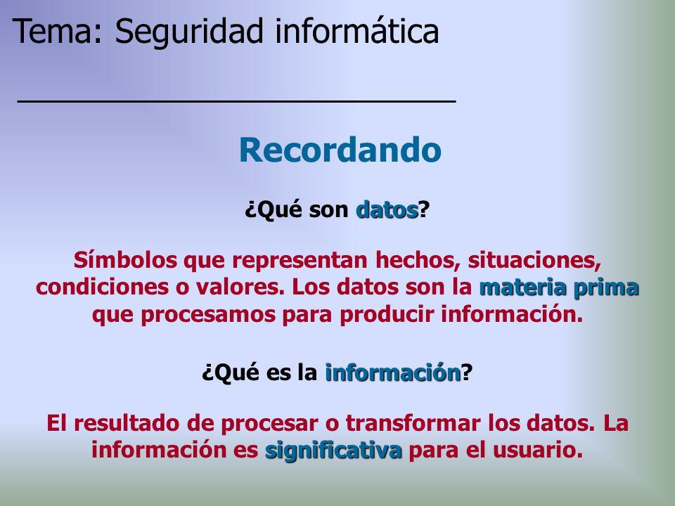 datos ¿Qué son datos? Recordando materia prima Símbolos que representan hechos, situaciones, condiciones o valores. Los datos son la materia prima que
