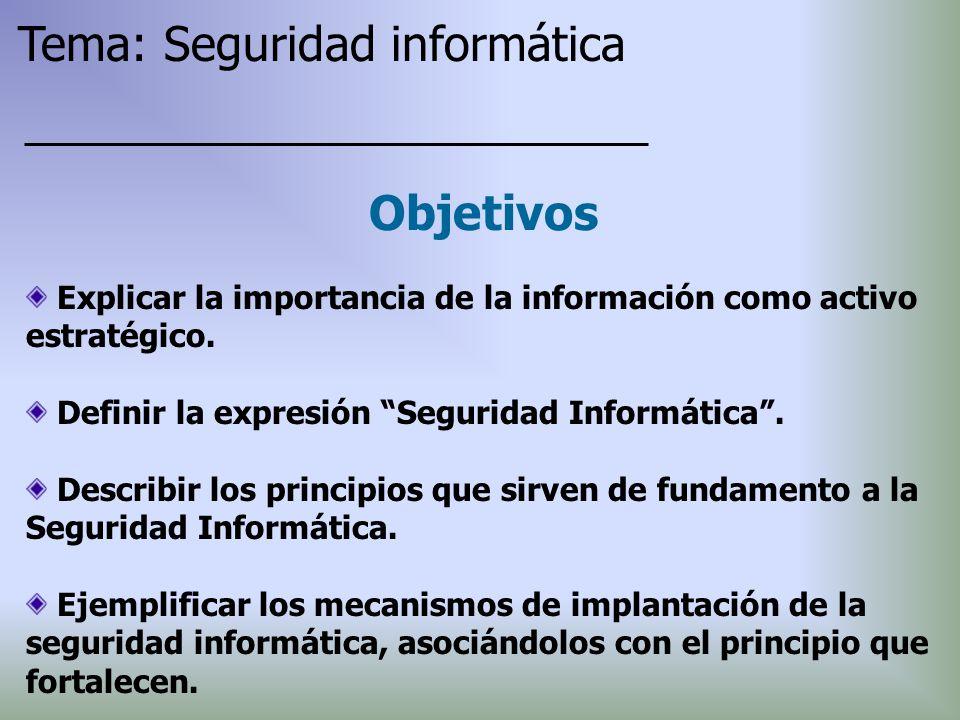 Explicar la importancia de la información como activo estratégico. Definir la expresión Seguridad Informática. Describir los principios que sirven de