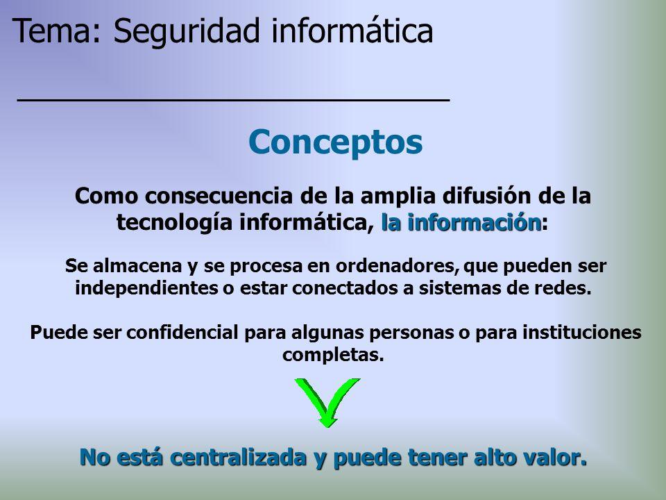 Conceptos Se almacena y se procesa en ordenadores, que pueden ser independientes o estar conectados a sistemas de redes. Puede ser confidencial para a