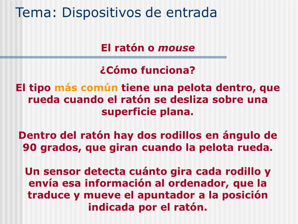 ¿Cómo funciona? El tipo más común tiene una pelota dentro, que rueda cuando el ratón se desliza sobre una superficie plana. Dentro del ratón hay dos r