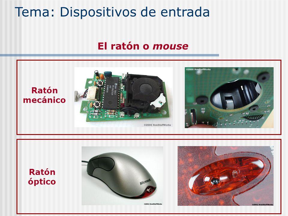 Tema: Dispositivos de entrada El ratón o mouse Ratón mecánico Ratón óptico