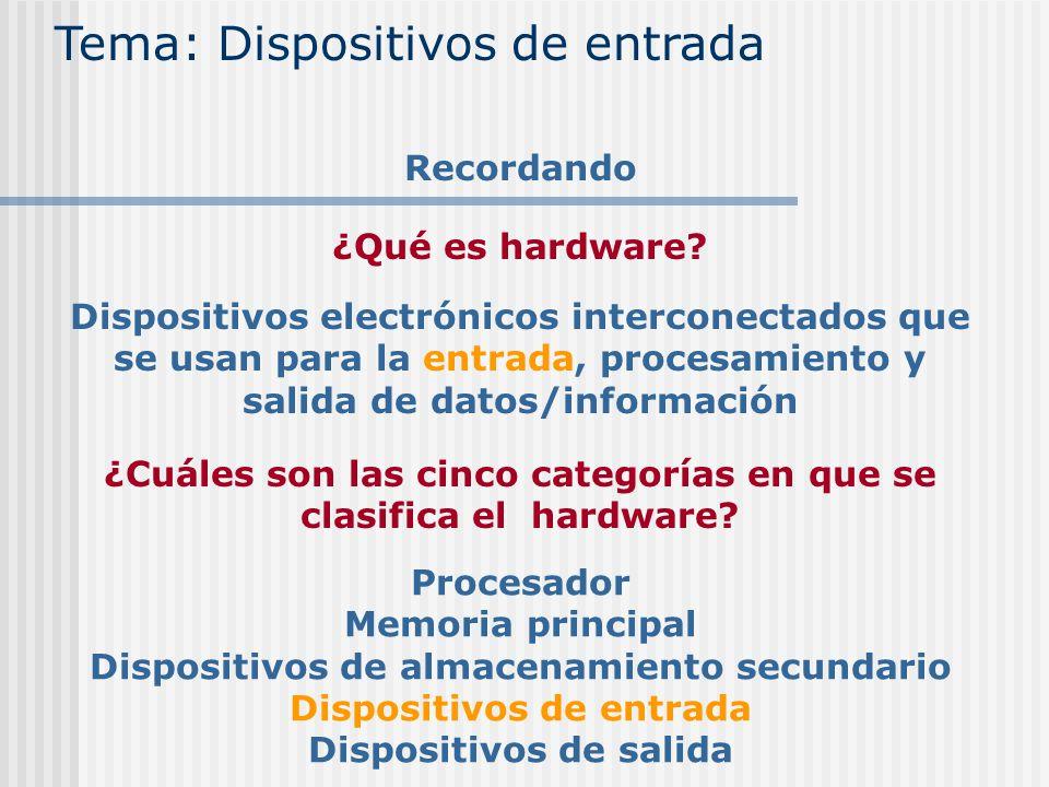 ¿Qué es hardware? Tema: Dispositivos de entrada Recordando Dispositivos electrónicos interconectados que se usan para la entrada, procesamiento y sali
