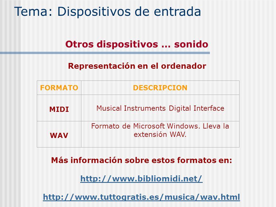 FORMATODESCRIPCION MIDI Musical Instruments Digital Interface WAV Formato de Microsoft Windows. Lleva la extensión WAV. Más información sobre estos fo