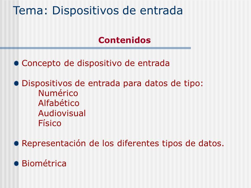 Concepto de dispositivo de entrada Dispositivos de entrada para datos de tipo: Numérico Alfabético Audiovisual Físico Representación de los diferentes