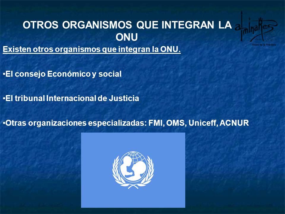 Existen otros organismos que integran la ONU. El consejo Económico y social El tribunal Internacional de Justicia Otras organizaciones especializadas: