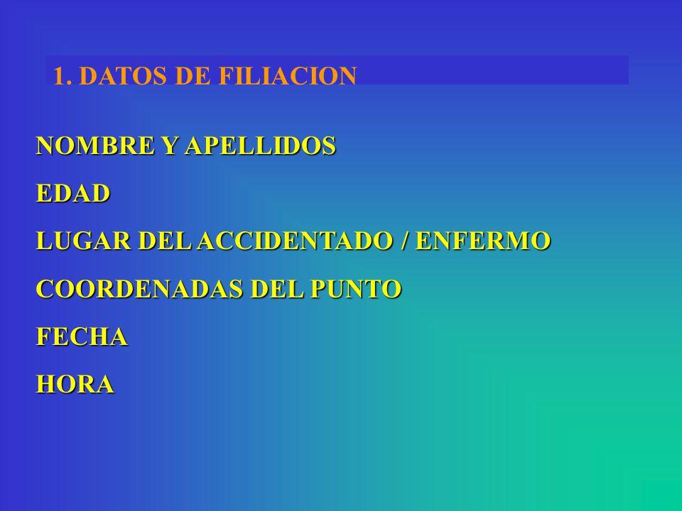 1. DATOS DE FILIACION NOMBRE Y APELLIDOS EDAD LUGAR DEL ACCIDENTADO / ENFERMO COORDENADAS DEL PUNTO FECHA HORA