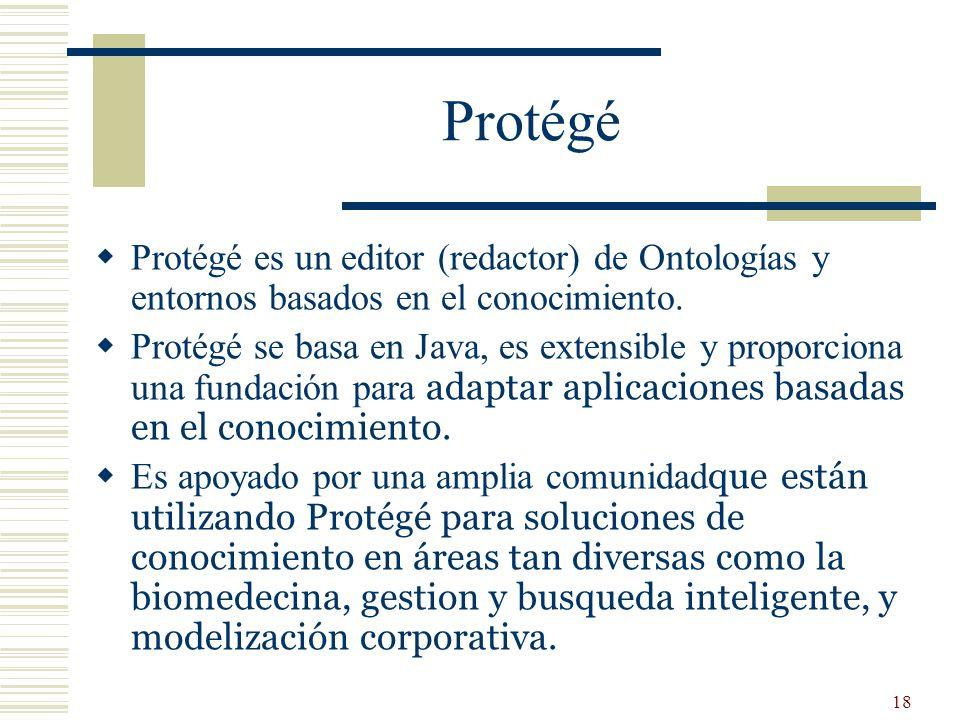 18 Protégé Protégé es un editor (redactor) de Ontologías y entornos basados en el conocimiento. Protégé se basa en Java, es extensible y proporciona u