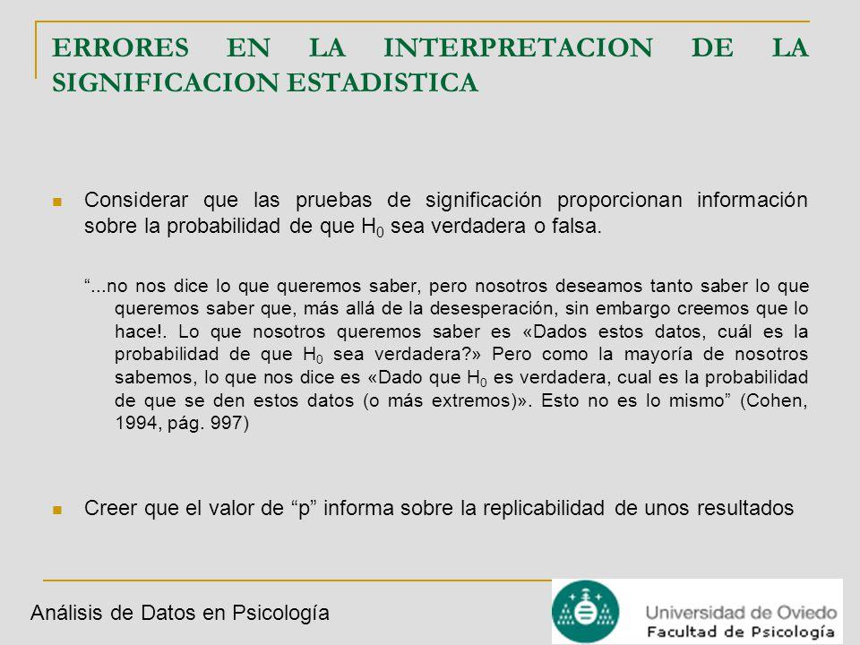 Análisis de Datos en Psicología ERRORES EN LA INTERPRETACION DE LA SIGNIFICACION ESTADISTICA Considerar que las pruebas de significación proporcionan