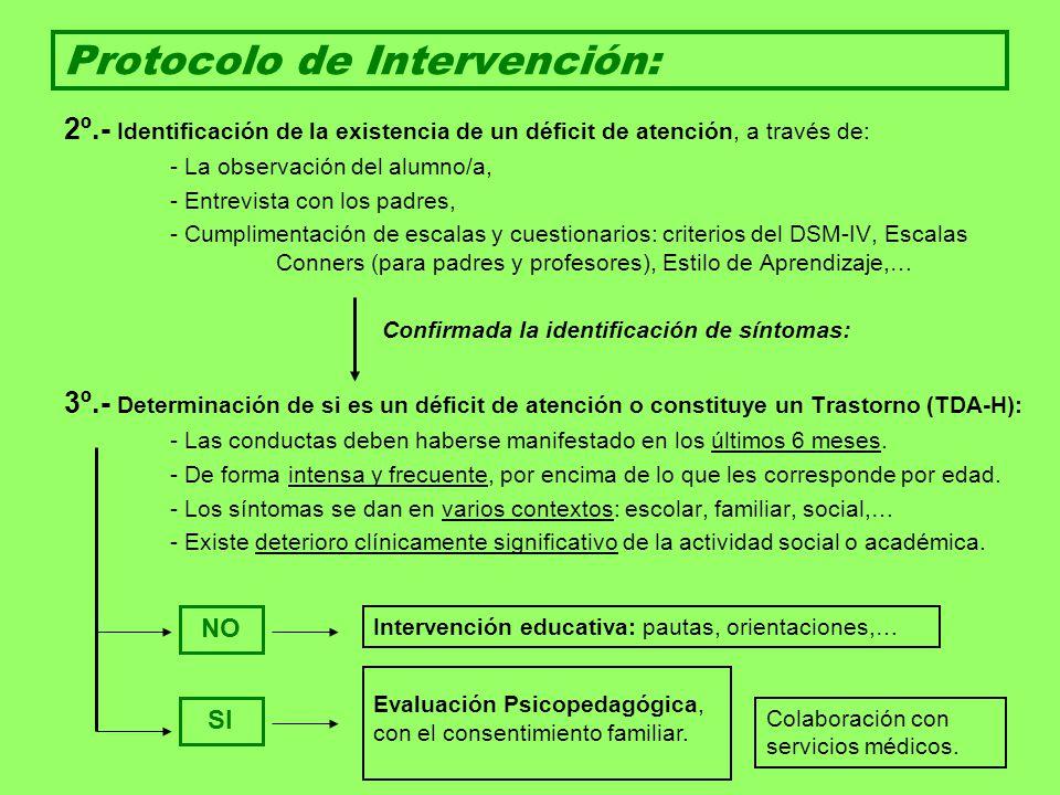 Protocolo de Intervención: 2º.- Identificación de la existencia de un déficit de atención, a través de: - La observación del alumno/a, - Entrevista co