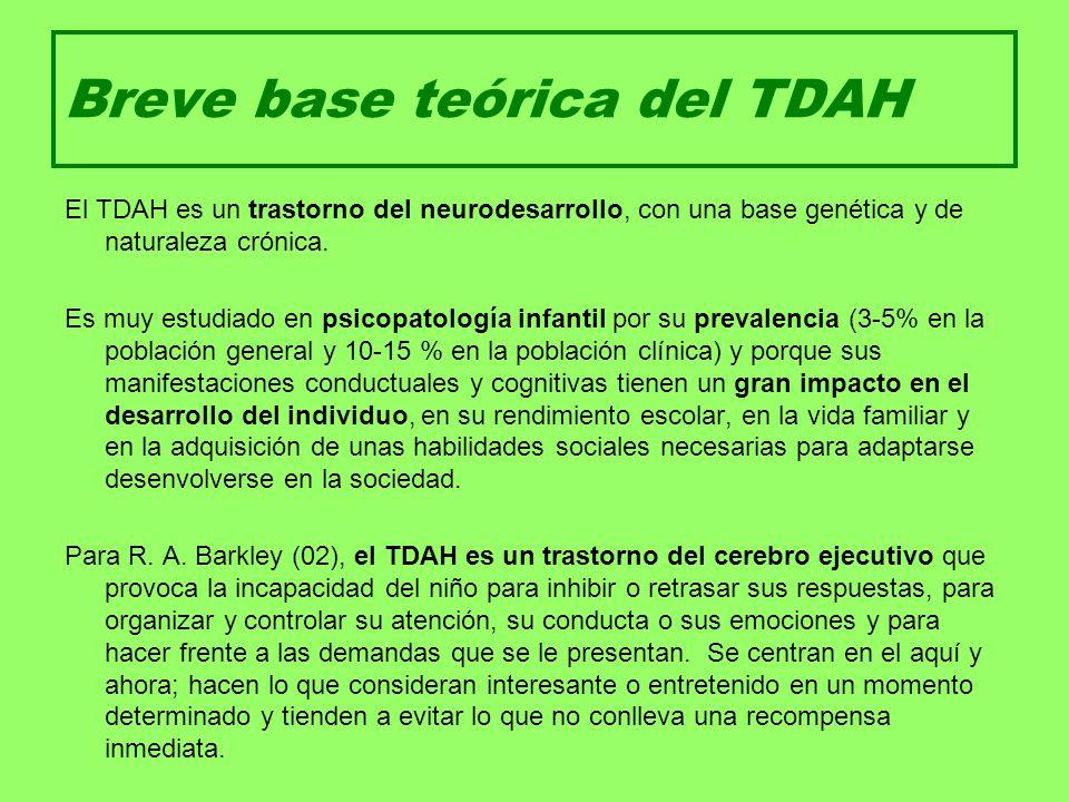 Breve base teórica del TDAH El TDAH es un trastorno del neurodesarrollo, con una base genética y de naturaleza crónica. Es muy estudiado en psicopatol