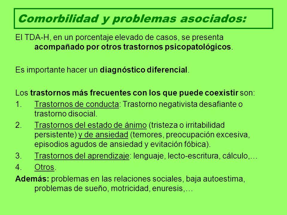 Comorbilidad y problemas asociados: El TDA-H, en un porcentaje elevado de casos, se presenta acompañado por otros trastornos psicopatológicos. Es impo