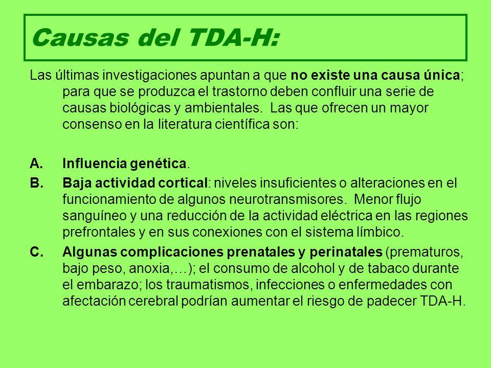 Diagnóstico del TDA-H: Criterios diagnósticos del DSM IV-TR (Asociación Americana de Psiquiatría, 2001).