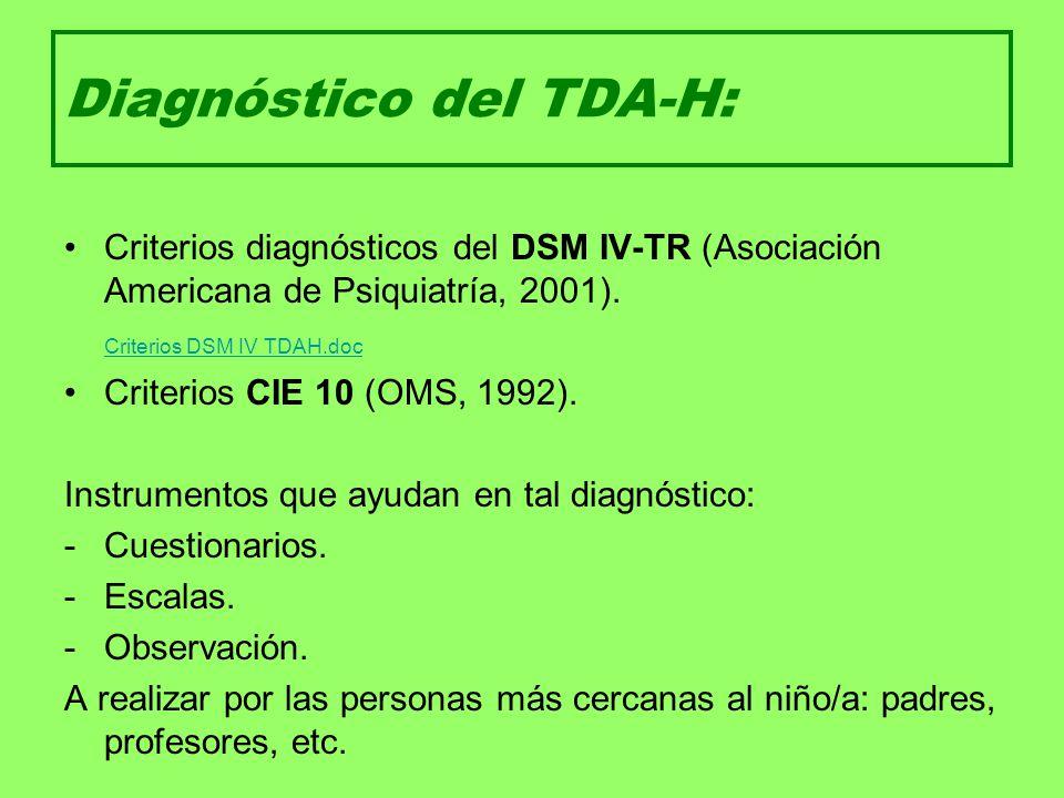 Diagnóstico del TDA-H: Criterios diagnósticos del DSM IV-TR (Asociación Americana de Psiquiatría, 2001). Criterios DSM IV TDAH.doc Criterios CIE 10 (O