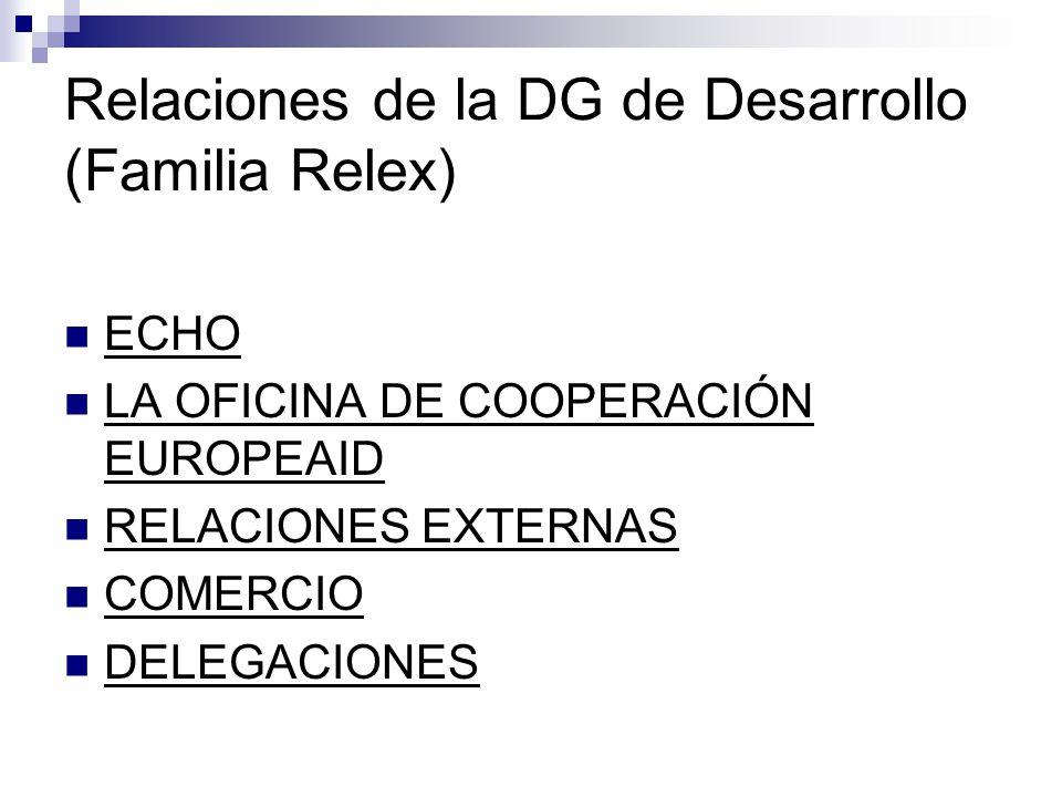 Relaciones de la DG de Desarrollo (Familia Relex) ECHO LA OFICINA DE COOPERACIÓN EUROPEAID RELACIONES EXTERNAS COMERCIO DELEGACIONES