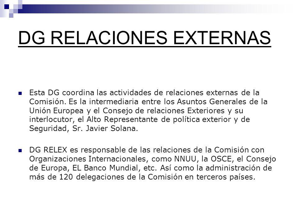 DG RELACIONES EXTERNAS Esta DG coordina las actividades de relaciones externas de la Comisión.