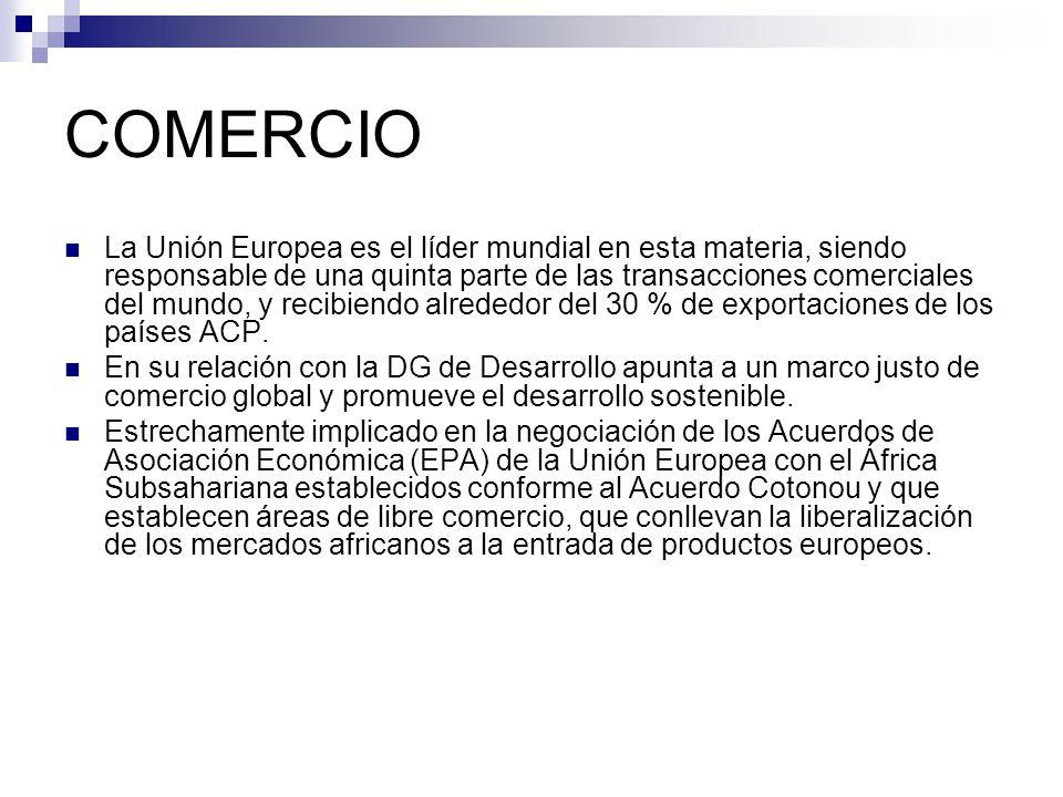 COMERCIO La Unión Europea es el líder mundial en esta materia, siendo responsable de una quinta parte de las transacciones comerciales del mundo, y recibiendo alrededor del 30 % de exportaciones de los países ACP.