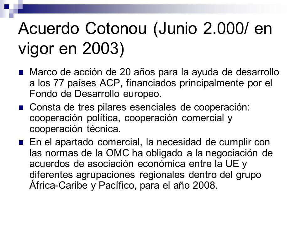 Acuerdo Cotonou (Junio 2.000/ en vigor en 2003) Marco de acción de 20 años para la ayuda de desarrollo a los 77 países ACP, financiados principalmente por el Fondo de Desarrollo europeo.
