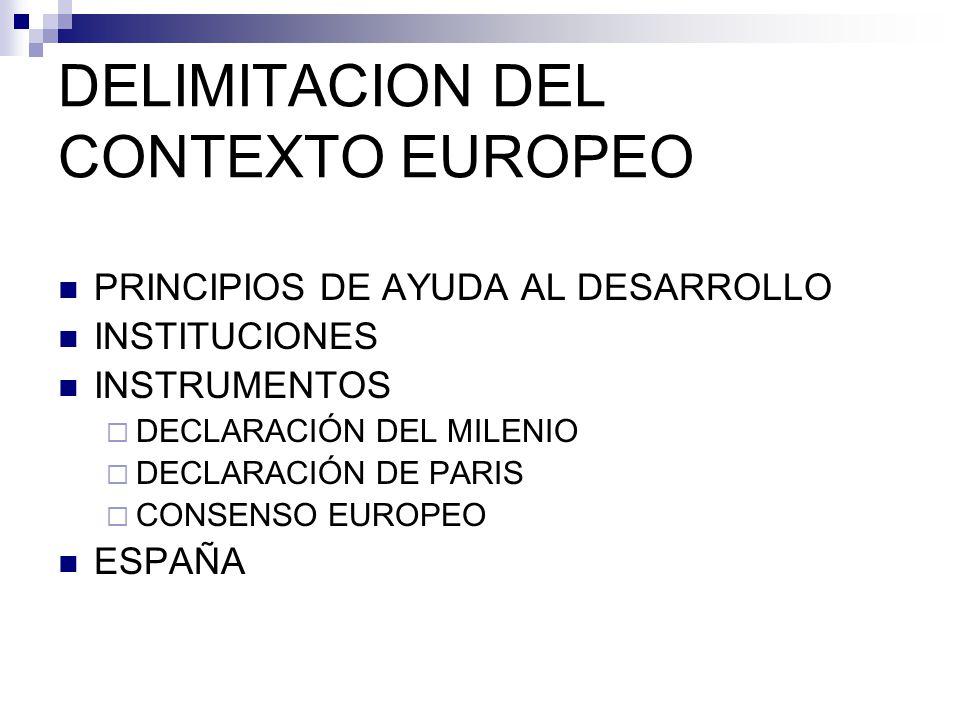 DELIMITACION DEL CONTEXTO EUROPEO PRINCIPIOS DE AYUDA AL DESARROLLO INSTITUCIONES INSTRUMENTOS DECLARACIÓN DEL MILENIO DECLARACIÓN DE PARIS CONSENSO EUROPEO ESPAÑA