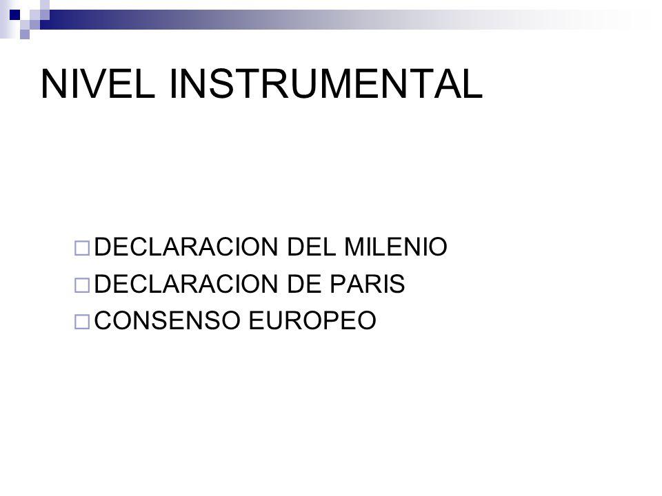 NIVEL INSTRUMENTAL DECLARACION DEL MILENIO DECLARACION DE PARIS CONSENSO EUROPEO