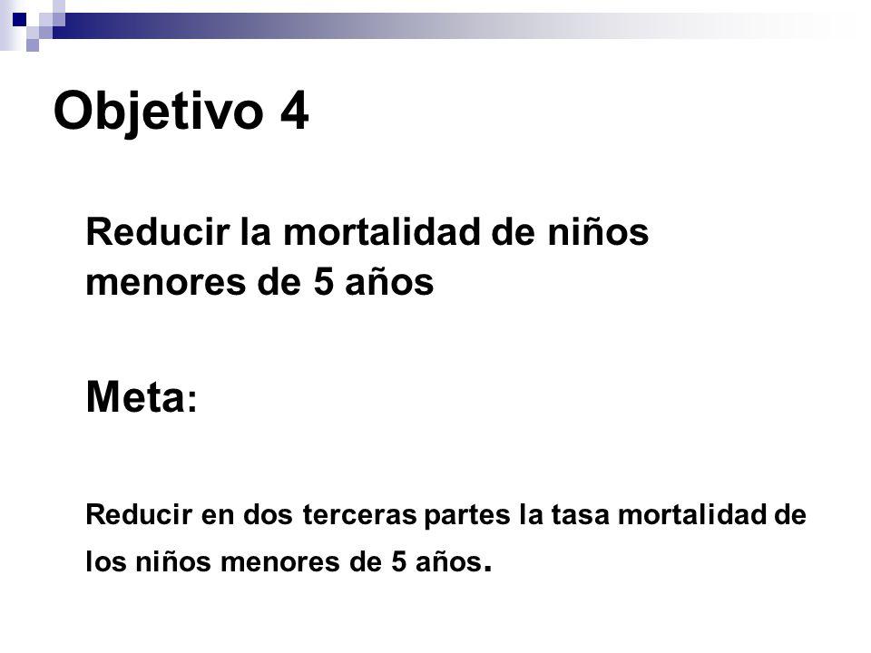 Objetivo 4 Reducir la mortalidad de niños menores de 5 años Meta : Reducir en dos terceras partes la tasa mortalidad de los niños menores de 5 años.