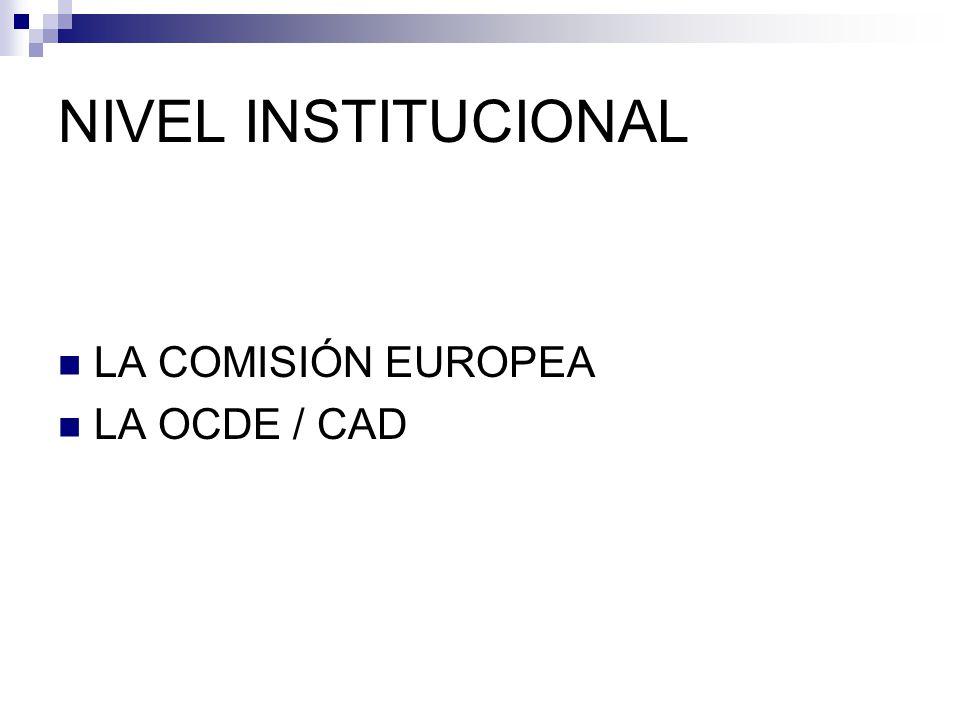 NIVEL INSTITUCIONAL LA COMISIÓN EUROPEA LA OCDE / CAD