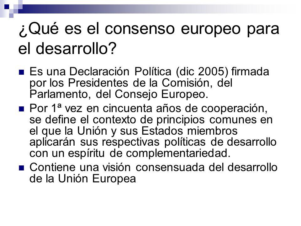 ¿Qué es el consenso europeo para el desarrollo.