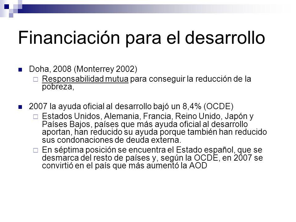 Financiación para el desarrollo Doha, 2008 (Monterrey 2002) Responsabilidad mutua para conseguir la reducción de la pobreza, 2007 la ayuda oficial al desarrollo bajó un 8,4% (OCDE) Estados Unidos, Alemania, Francia, Reino Unido, Japón y Países Bajos, países que más ayuda oficial al desarrollo aportan, han reducido su ayuda porque también han reducido sus condonaciones de deuda externa.