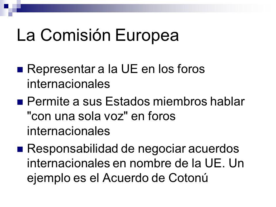 La Comisión Europea Representar a la UE en los foros internacionales Permite a sus Estados miembros hablar con una sola voz en foros internacionales Responsabilidad de negociar acuerdos internacionales en nombre de la UE.