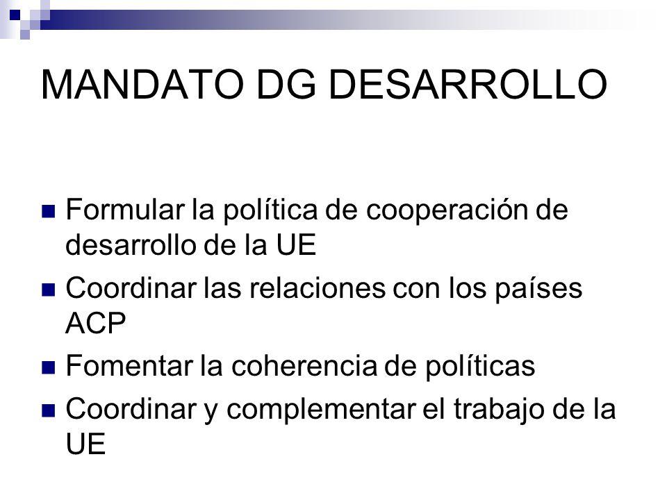 MANDATO DG DESARROLLO Formular la política de cooperación de desarrollo de la UE Coordinar las relaciones con los países ACP Fomentar la coherencia de políticas Coordinar y complementar el trabajo de la UE