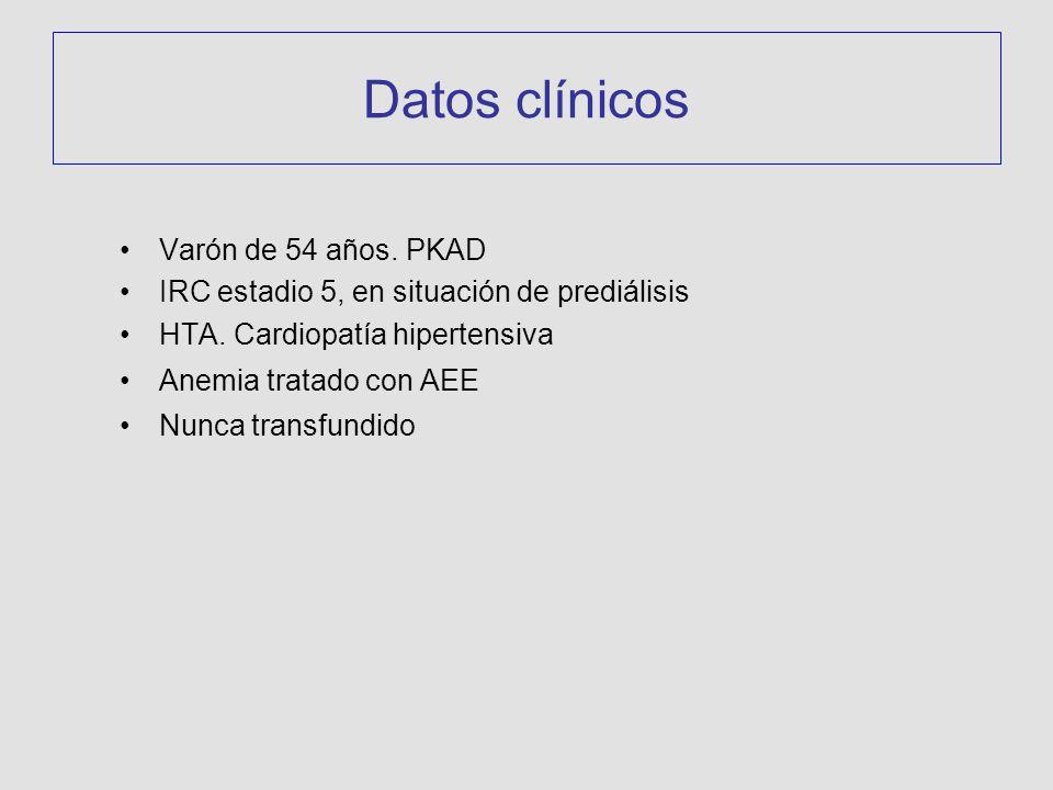 Datos clínicos Varón de 54 años. PKAD IRC estadio 5, en situación de prediálisis HTA. Cardiopatía hipertensiva Anemia tratado con AEE Nunca transfundi