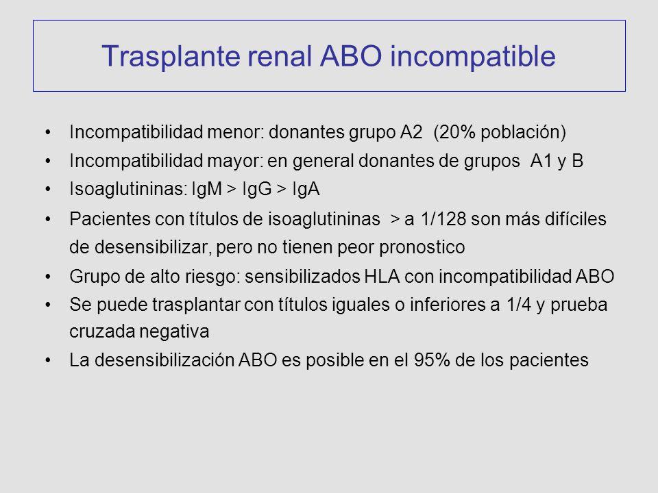 Incompatibilidad menor: donantes grupo A2 (20% población) Incompatibilidad mayor: en general donantes de grupos A1 y B Isoaglutininas: IgM > IgG > IgA Pacientes con títulos de isoaglutininas > a 1/128 son más difíciles de desensibilizar, pero no tienen peor pronostico Grupo de alto riesgo: sensibilizados HLA con incompatibilidad ABO Se puede trasplantar con títulos iguales o inferiores a 1/4 y prueba cruzada negativa La desensibilización ABO es posible en el 95% de los pacientes Trasplante renal ABO incompatible