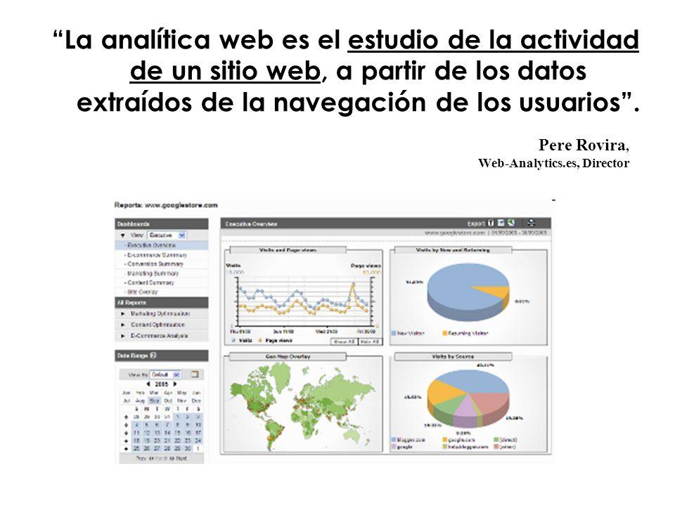 Pere Rovira, Web-Analytics.es, Director La analítica web es el estudio de la actividad de un sitio web, a partir de los datos extraídos de la navegación de los usuarios.