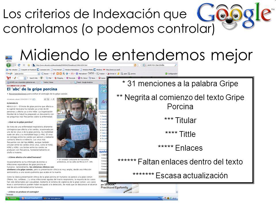 Los criterios de Indexación que controlamos (o podemos controlar) * 31 menciones a la palabra Gripe ** Negrita al comienzo del texto Gripe Porcina ***