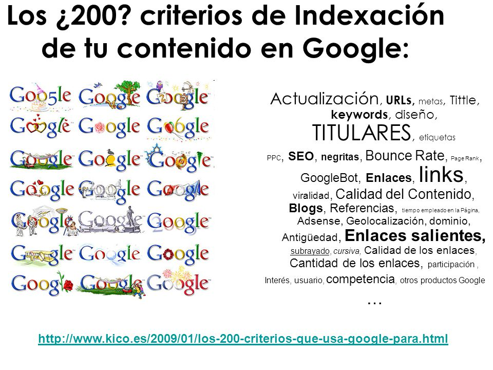 Los ¿200? criterios de Indexación de tu contenido en Google: Actualización, URLs, metas, Tittle, keywords, diseño, TITULARES, etiquetas PPC, SEO, negr