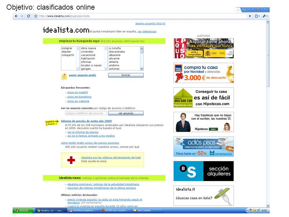 Objetivo: clasificados online