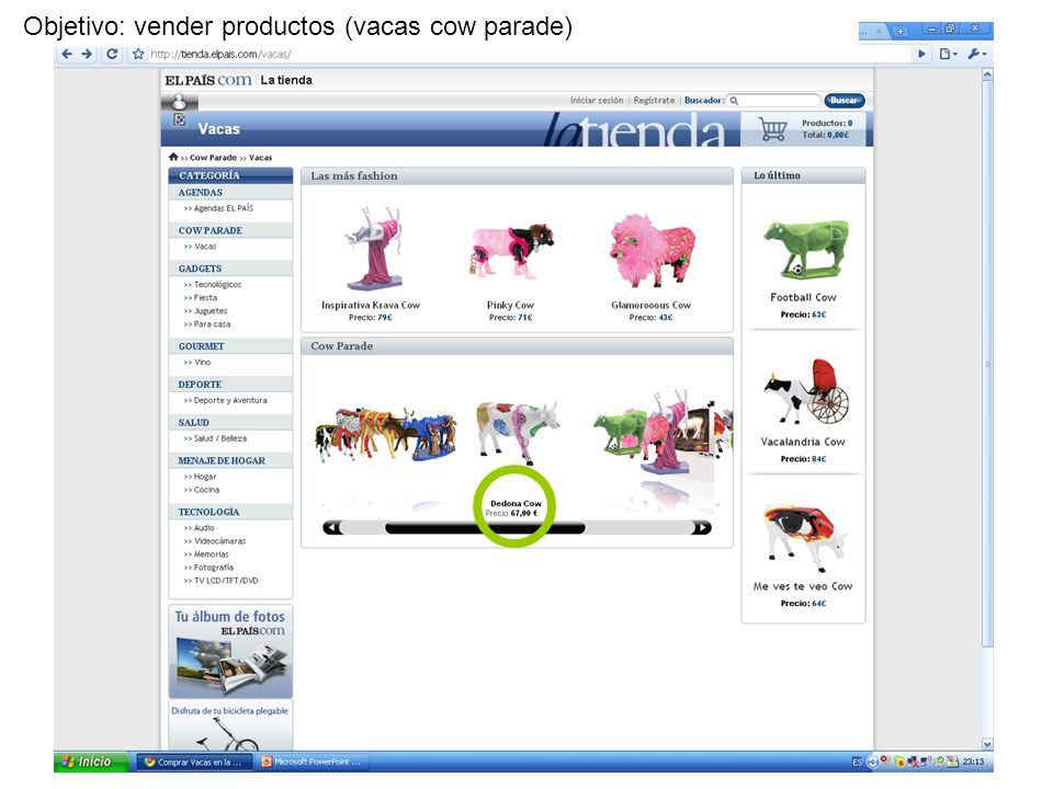 Objetivo: vender productos (vacas cow parade)