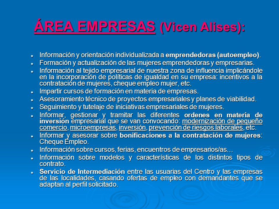 ÁREA EMPRESAS (Vicen Alises): Información y orientación individualizada a emprendedoras (autoempleo).