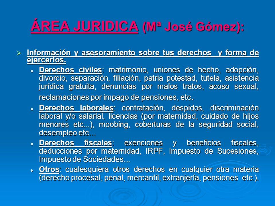 ÁREA JURIDICA: Información, tramitación, gestión y seguimiento de los siguientes programas: Información, tramitación, gestión y seguimiento de los siguientes programas: Asistencia jurídica gratuita a mujeres víctimas de malos tratos (Themis- JCCLM).
