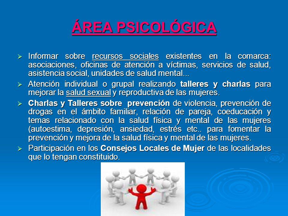 ÁREA PSICOLÓGICA Informar sobre recursos sociales existentes en la comarca: asociaciones, oficinas de atención a víctimas, servicios de salud, asistencia social, unidades de salud mental...