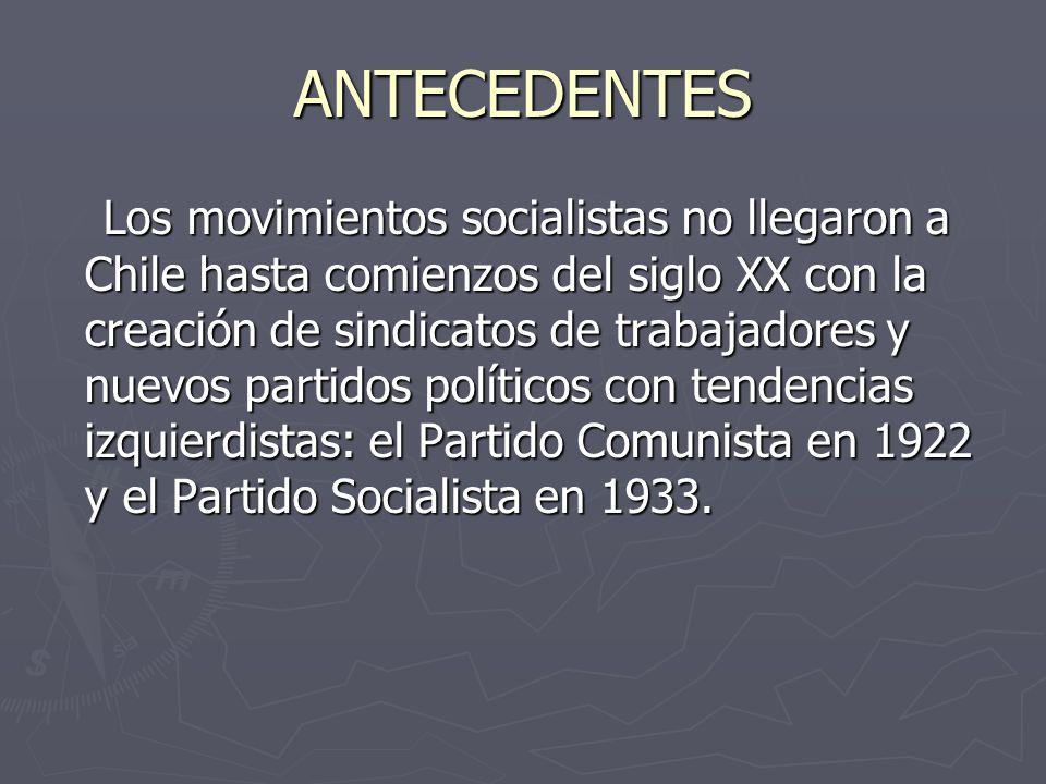 ANTECEDENTES Los movimientos socialistas no llegaron a Chile hasta comienzos del siglo XX con la creación de sindicatos de trabajadores y nuevos partidos políticos con tendencias izquierdistas: el Partido Comunista en 1922 y el Partido Socialista en 1933.