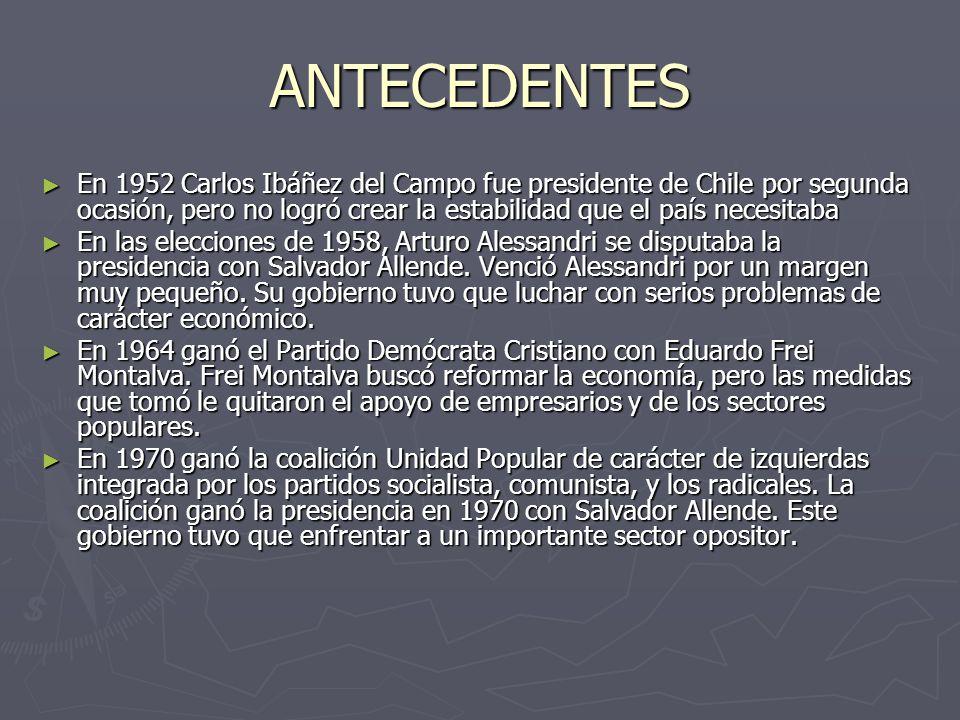 ANTECEDENTES En 1952 Carlos Ibáñez del Campo fue presidente de Chile por segunda ocasión, pero no logró crear la estabilidad que el país necesitaba En 1952 Carlos Ibáñez del Campo fue presidente de Chile por segunda ocasión, pero no logró crear la estabilidad que el país necesitaba En las elecciones de 1958, Arturo Alessandri se disputaba la presidencia con Salvador Allende.