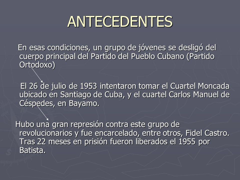 ANTECEDENTES En esas condiciones, un grupo de jóvenes se desligó del cuerpo principal del Partido del Pueblo Cubano (Partido Ortodoxo) En esas condiciones, un grupo de jóvenes se desligó del cuerpo principal del Partido del Pueblo Cubano (Partido Ortodoxo) El 26 de julio de 1953 intentaron tomar el Cuartel Moncada ubicado en Santiago de Cuba, y el cuartel Carlos Manuel de Céspedes, en Bayamo.